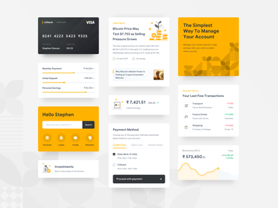 Finance App Cards flat design clean branding yellow ux ui sketch patterns mobile minimal iphone interface finance cards black appdesign app