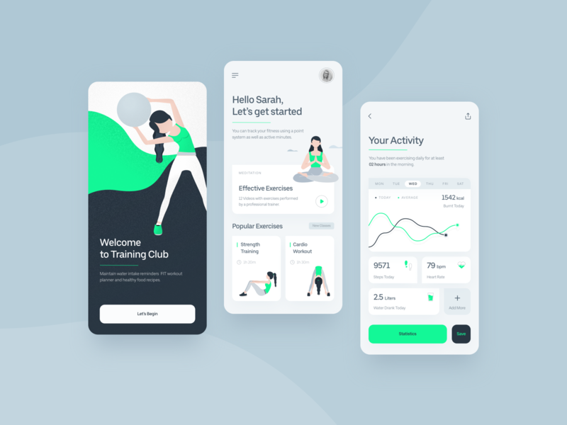 Fitness Application texture illustration meditation uidesign yoga training cardio sketch app appdesign design interface iphone ios fitness app fitness ux uiux ui