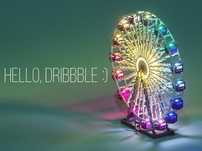 Ferris Wheel. Also, hello Dribbble :) modelling block art 3d render game dev voxel voxel art magicavoxel ferris wheel