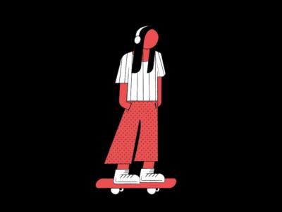 Skateboard Illustration music vector illustration girl illustration illustrator
