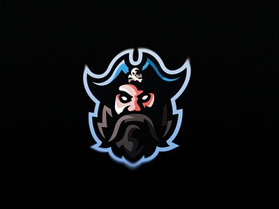 Pirate Mascot Logo blackbeard photoshop illustrator skull blue sport esport mascot logo pirate