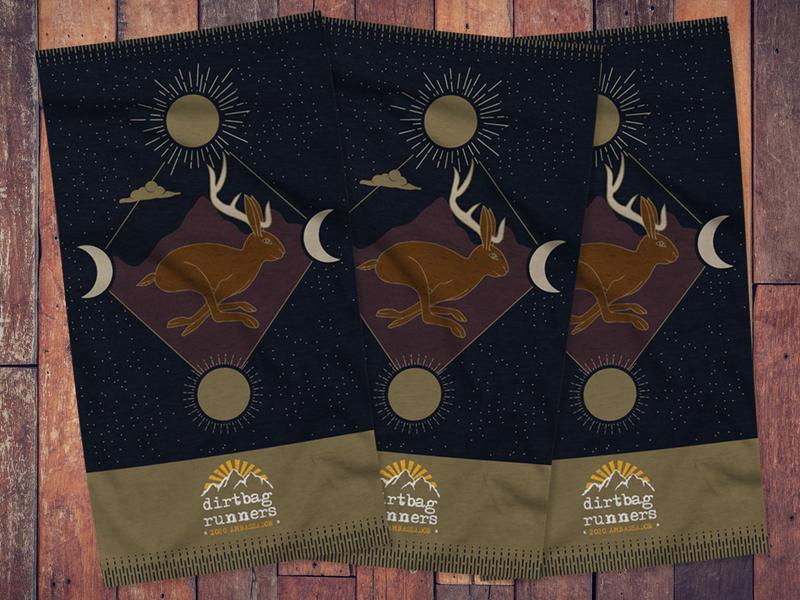 Dirtbag Runners Buff trail running stars celestial jackalope apparel design apparel running buff vector illustration