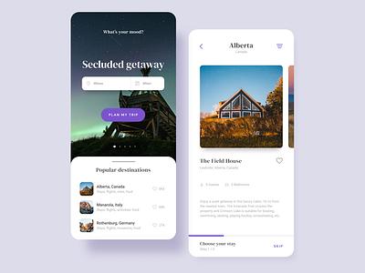 Destinations app travel mobile typography minimal ux ui