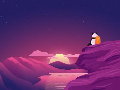 Enjoy the climb travel sunset vector illustration ui ux