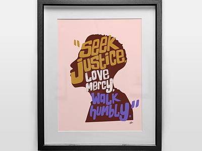 Seek Justice - Version 1 procreate digital illustration black and white blacklivesmatter illustration black