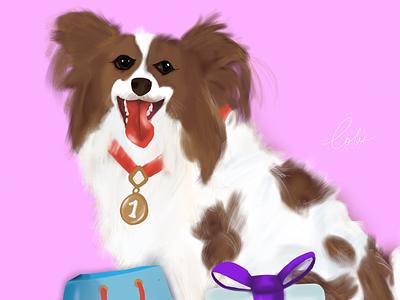 Canine fears adorable digital illustration dog
