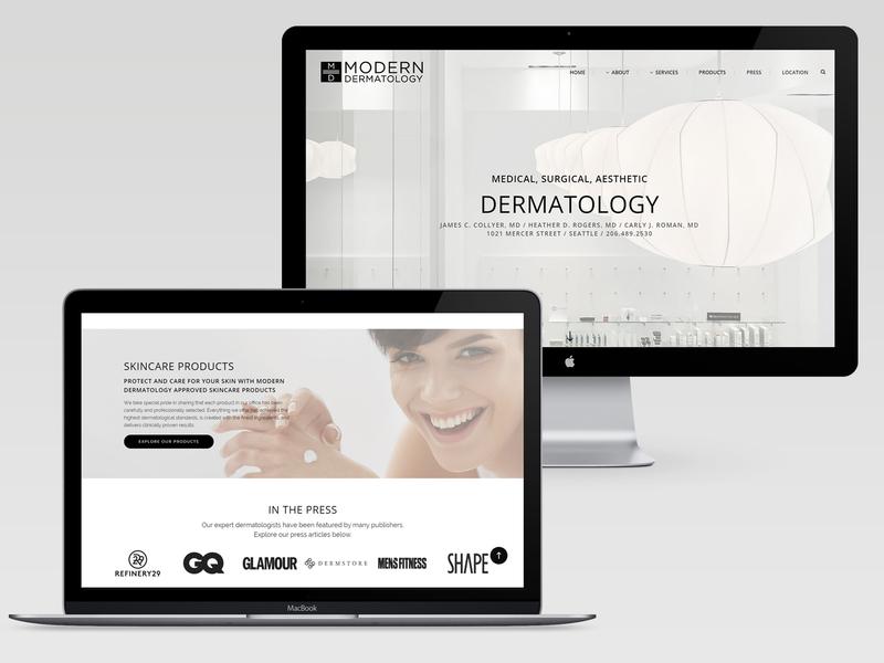 Modern Dermatology Website seattle wordpress design skin care medical website web design wordpress