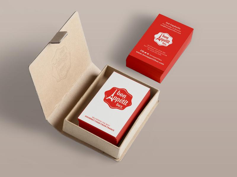Bon Appetit Box Business Cards & Logo french gourmet california san francisco business card design
