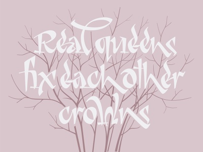 Real queens fix each other crowns lettering lettering calligraphy illustration typography vector