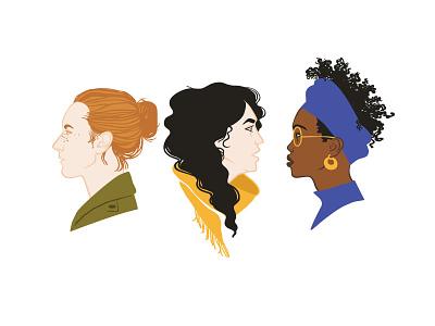Girls portraits illustration design graphic shutterstock vector sisterhood portrait beautiful young red hair african afro black woman gender girls