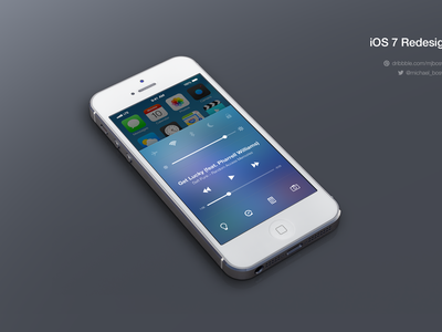 iOS7 Control Center Redesign ios7 ios mobile design ui ux apple icon illustration photoshop vector