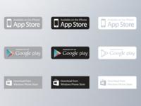 App Download Buttons - Vector Set