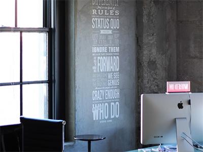 Steve Jobs Quote - Workspace apple steve jobs wall decal vinyl sticker office design interior workspace decor white cement grey quote