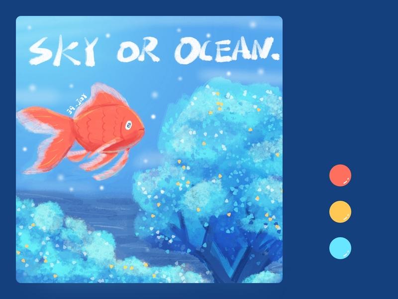 SKY OR OCEAN 39 procreate art cute design hand painted illustration