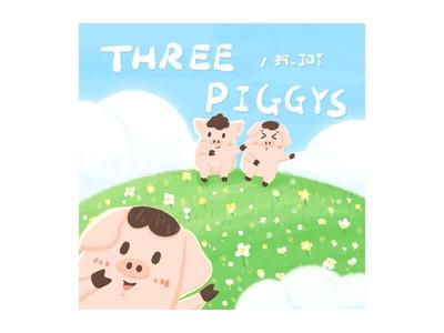 Three Little Piggys 2 procreate art piggy cute design hand painted illustration