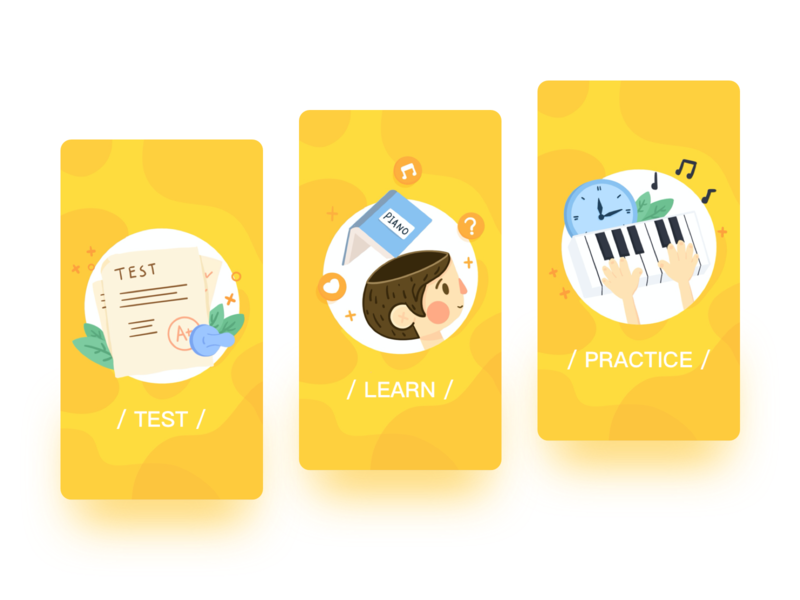 搞点儿设计之Onboarding piano education app guide pages onboarding cute icon app ui hand painted design illustration