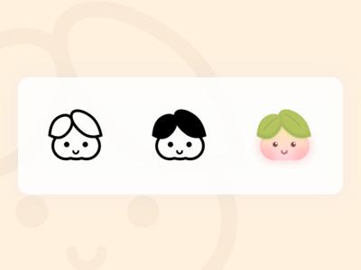 Buns face-Peaches cute art vector logo icon illustration