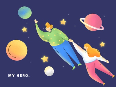 My hero fly universe design hand painted illustration heroes