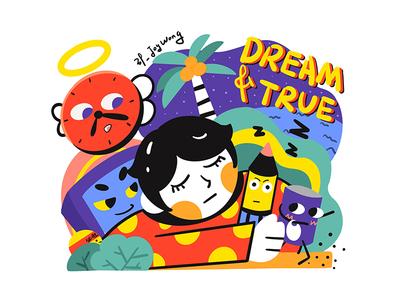 Daydreamer daydream vacation procreate design hand painted illustration