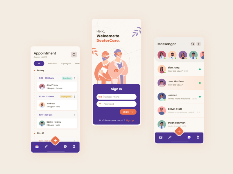 Doctor Appointment Application vector illustration ux management figma application ui flat app ui design