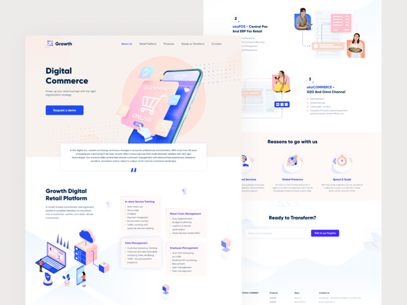Digital Retail Landing Page platform retail commerce digital flat uidesign crm about us landingpage design ui