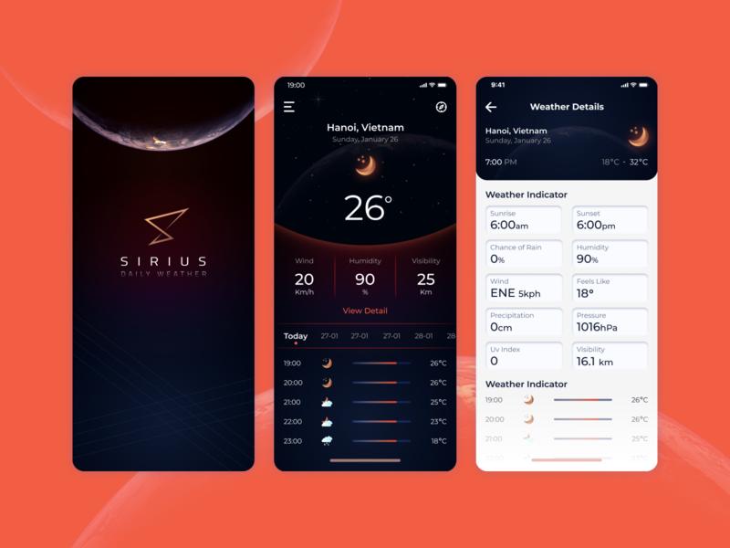 Mobile application - Sirius Weather typography ux flat app design branding logo ui