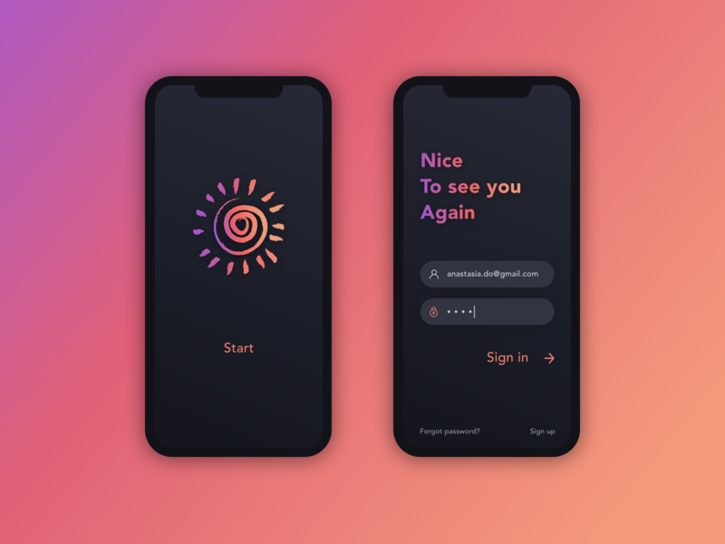 Sign in button fields mobile splash screen sign up sing in login screen gradient color dark theme clean minimal app ux ui