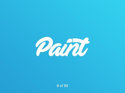 #ThirtyLogos Challenge Day 9 - Paint typography paintbrush blue paint grandient app vector thirtylogos thirty day logo challenge logo design daily branding 30 logos