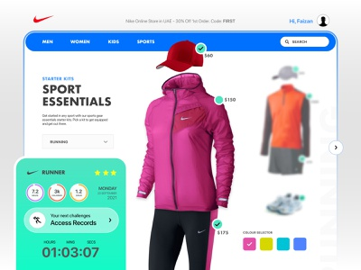 Nike Sports Essentials nike interaction design 3d animation faizan saeed illustration creativity dubai design concept intuitive ui design web app colourful interface ui product design web design mobile