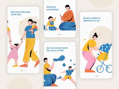 Daycare Nanny dubai app faizan saeed vector web design illustrations services nanny daycare design ui mobile app interface onboarding