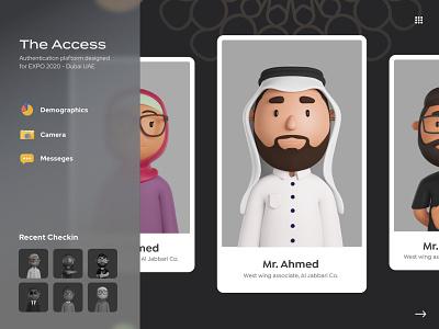 The Access - Security App character ux creativity concept faizan saeed ui ui design design web design interface checkout checkin illustrations 3d mobile app desktop app dubai expo2020 expo security