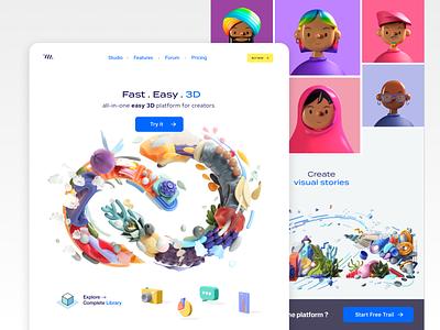 3D Platform for creators dubai faizan saeed concept ui web interface design mobile ui web design ui design mobile design latest trend trending 3d library library 3d object illustrations 3d characters character design 3d