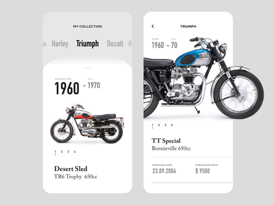 My Collection - Mobile App dubai ux faizan saeed minimal simple basic app interface ui design mobile ui vintage classic figma adobe xd sketch my collection motorcycles harley davidson ducati triumph