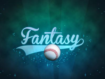 Fantasy Baseball logo baseball glow outer space script swoosh