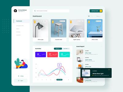Asset Dashboard Design trending 2020 chart app suggestions recommended dashboard design dashboard ui dashboard uidesign yellow green uiux ux ui experience colors design creative