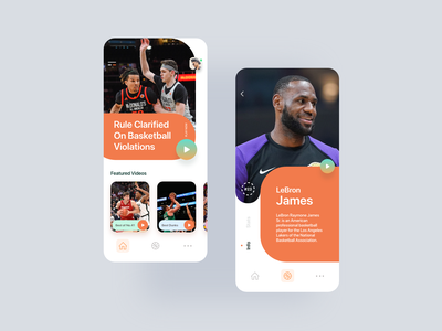 Play Off Basketball App photoshop design uidesign uiux ux ui sports game experience creative colors clean orange basketball app adobe xd