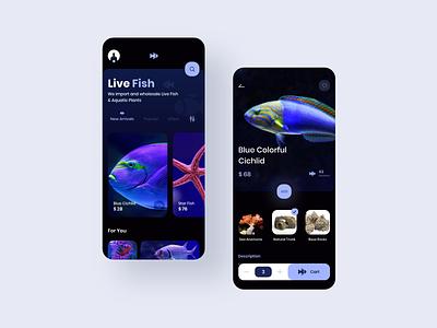 Buy Aquarium Fishes Online Ui Concept app ui design dark app app aquarium aquatic dark cart online shop online fish uiuxdesign uiux colors experience design ux ui creative