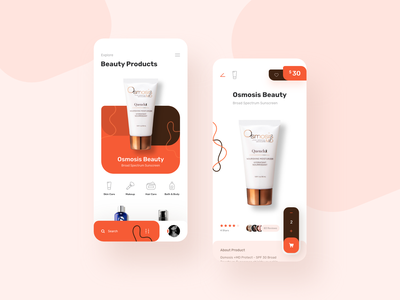Beauty Products Ui Design mobile app products beautiful shopping skincare brown orange beauty product beauty ios cart uiuxdesign uidesign app uiux design colors ux ui creative
