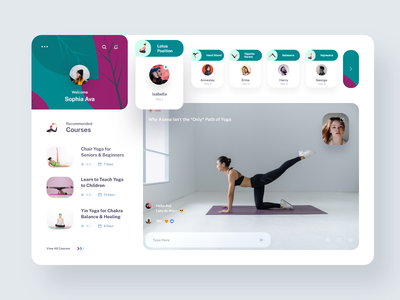 Yoga Live Class Design Concept video live course yoga green purple white suggestions recommendation uiuxdesign app uiux clean design ux experience colors ui creative