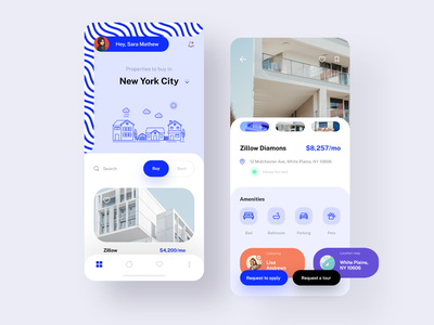 Real Estate App Design realestate buyhome renthome recommended suggestions properties buy rent blue white experience uidesign app design ui uiuxdesign uiux ux colors creative