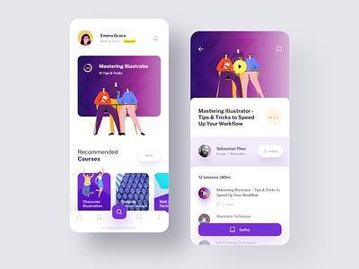 Online Courses App clean recommended suggestions teaching courses onlinecourse online purple white illustration design uidesign uiuxdesign app uiux ux experience colors ui creative