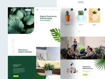 Organic Garden Landing Page new flowerpot plant imagery plants suggestions recommended white green flower garden website design website landing page design landingpage design experience colors creative