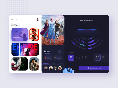 Movie Booking Design Concept purple blue films movie booking movie app movies movie booking recommended suggestions app uidesign uiuxdesign design uiux ux ui experience colors creative