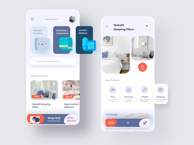 Buy Mattress Online red shopping blue white mattress buy online cart suggestions recommended uidesign uiuxdesign clean app design uiux ux ui experience colors creative