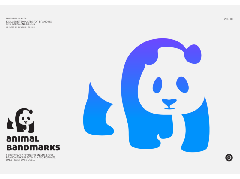 animal brandmark (Panda) high end design pawellpi collection premium branding gradient free icon free ai free download download for free free psd free logo free panda