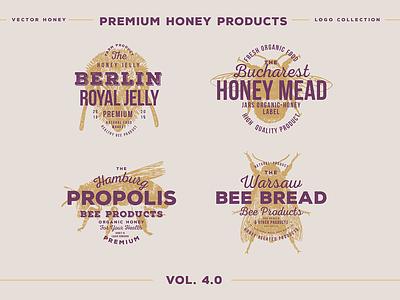 bee emblems premium branding honeymoon honey bee honeycomb honeybee honey hone emblem logos logodesign logo design logotype logo bees beetle beer label beer bee