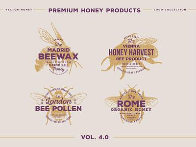 Emblems 04 OUT 01 beer label honeymoon honey bee honeycomb honeybee honey bees bee elegant logo high end design pawellpi collection premium branding