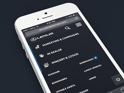 Lexus Asset Portal Mobile Menu responsive navigation extranet application