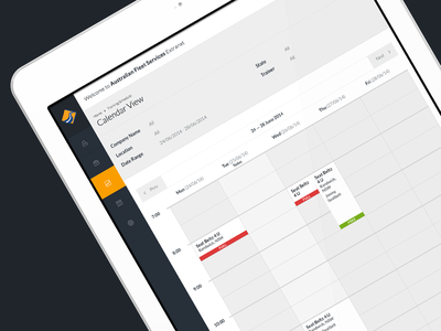 Schedule Screen Training Supplier application calendar clean minimalistic booking app extranet ui