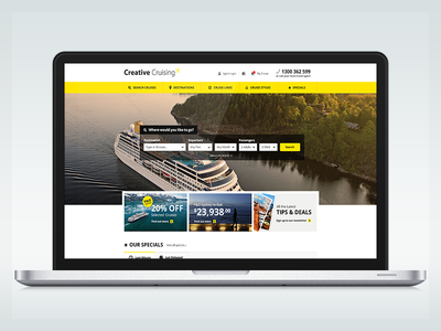 Creative Cruising Redesign clean search yellow travel travel website